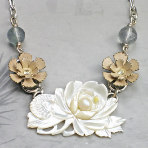 Monet Mother of Pearl Statement Necklace