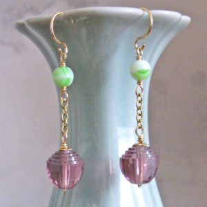 Art Deco Amethyst Green and Gold Earrings